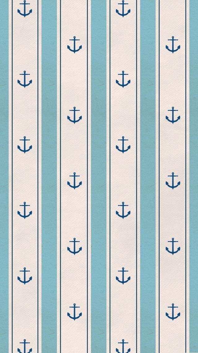 Cute iPhone 5 w... Light Blue Anchor Wallpaper