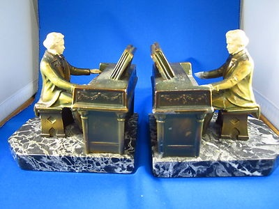 Pr Bronzed Spelter Metal Bookends Beethoven Playing The Piano Signed