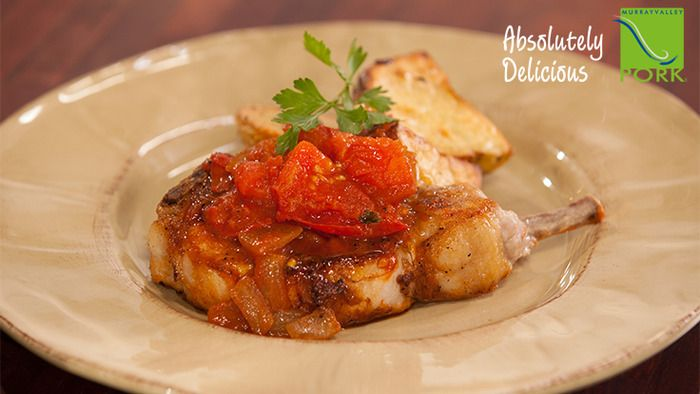 Simple Grilled Pork Chops with Sautéed Tomatoes