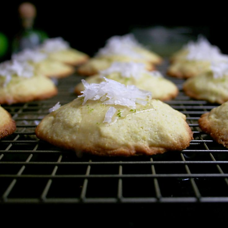 Tequila Lime Cornmeal Cookies topped with a lime glaze and shredded ...
