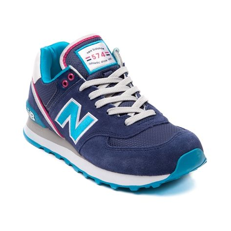 Shop for Womens New Balance 574 Athletic Shoe in Navy Blue Pink at Shi