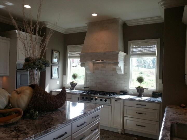 stone hood 3x6 tumbled marble backsplash new house pinterest