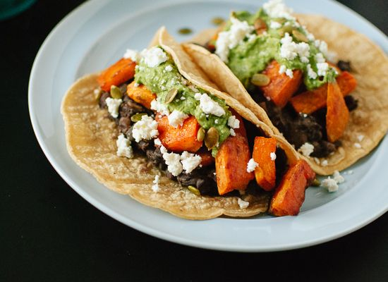 Sweet Potato and Black Bean Tacos with Avocado-Pepita Dip - Cookie and ...