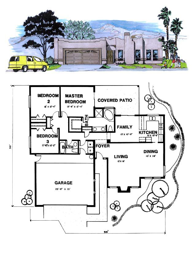 Santa fe southwest house plan 54604 for Santa fe floor plans