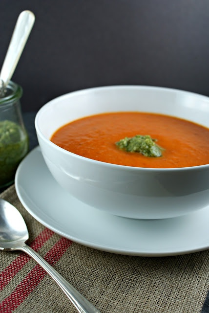 Roasted Red Pepper Soup with Cashew Pesto from Suburban Gourmet
