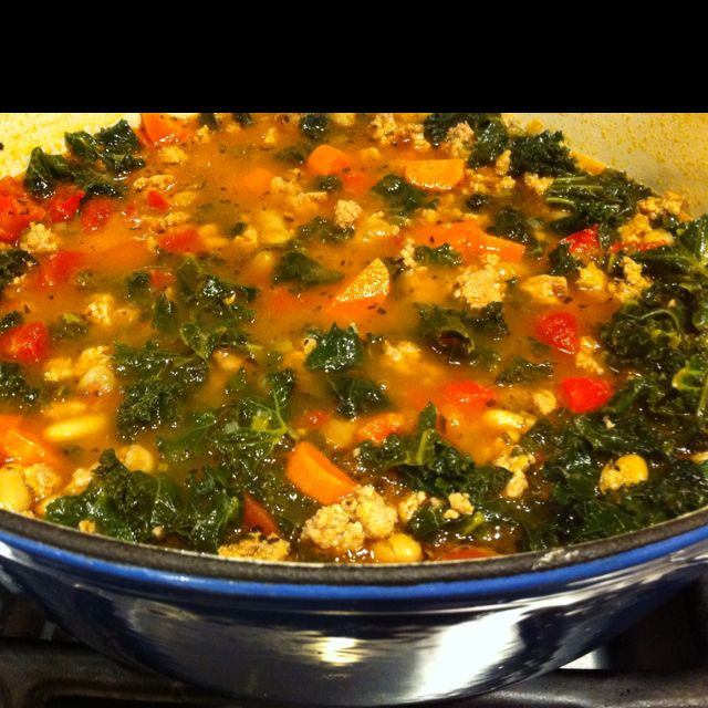 Turkey, Kale and Brown Rice Soup Recipe courtesy Giada De Laurentiis