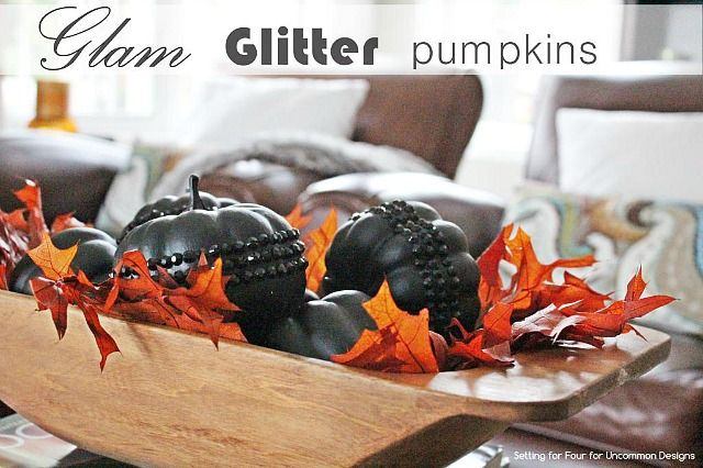 Bring a little glam with your pumpkins for fall decorating.
