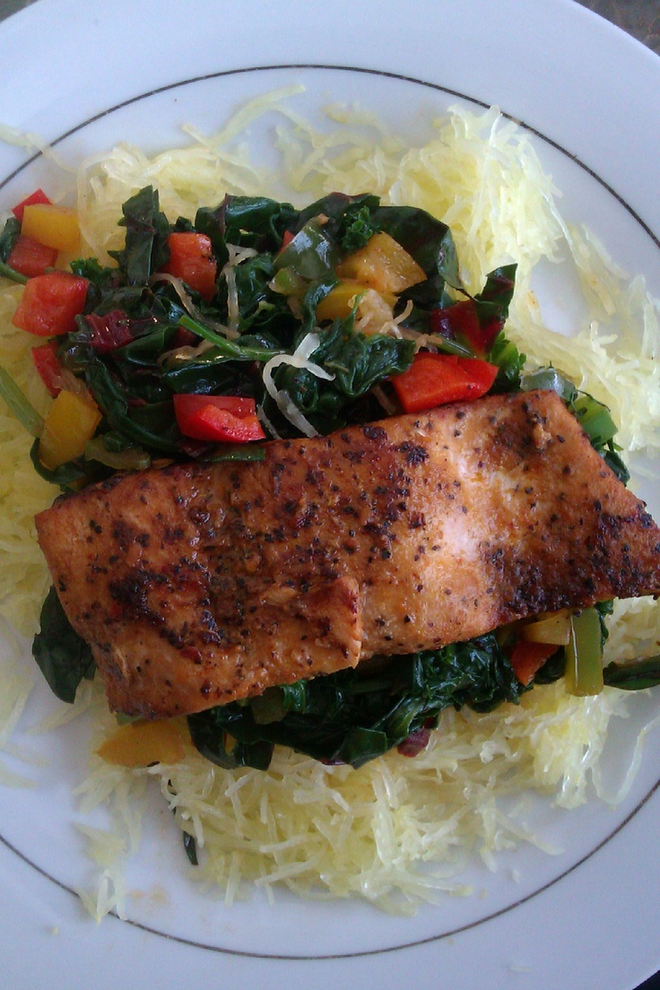 , kale, swiss chard, bell peppers served on a bed or spaghetti squash ...