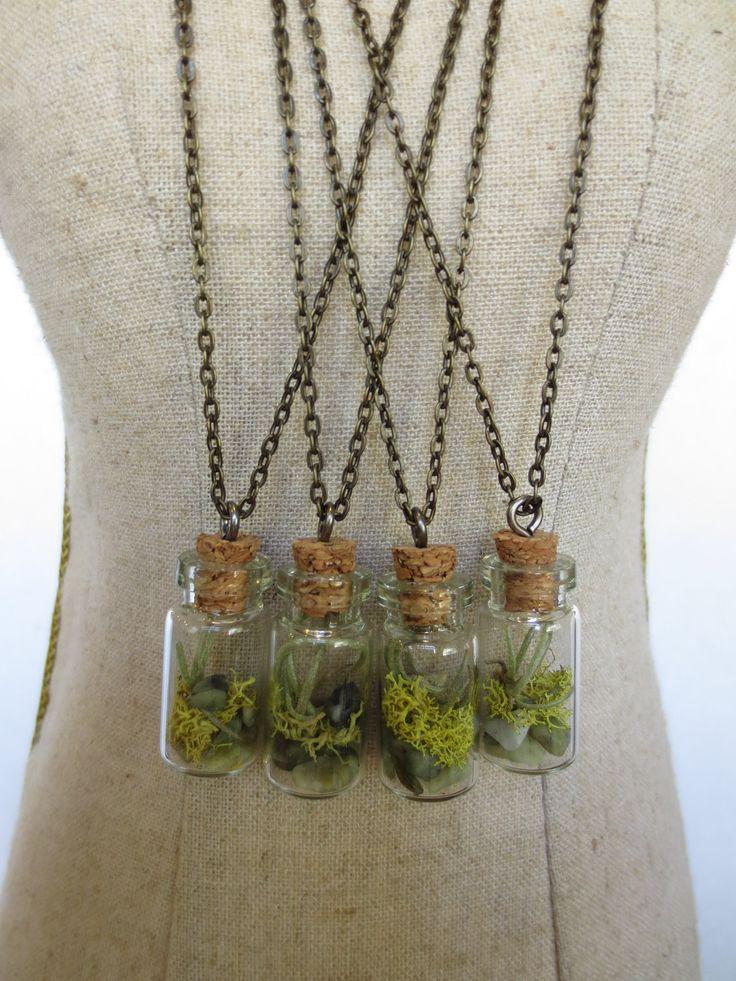 You Are My World Tiny Live Terrarium Necklace Moss Vial