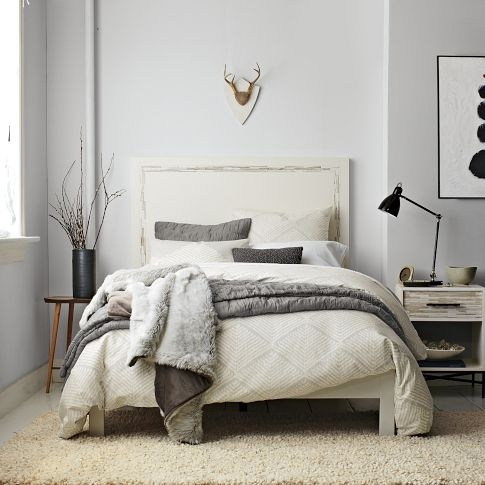 west elm wood tiled headboard bed frame full