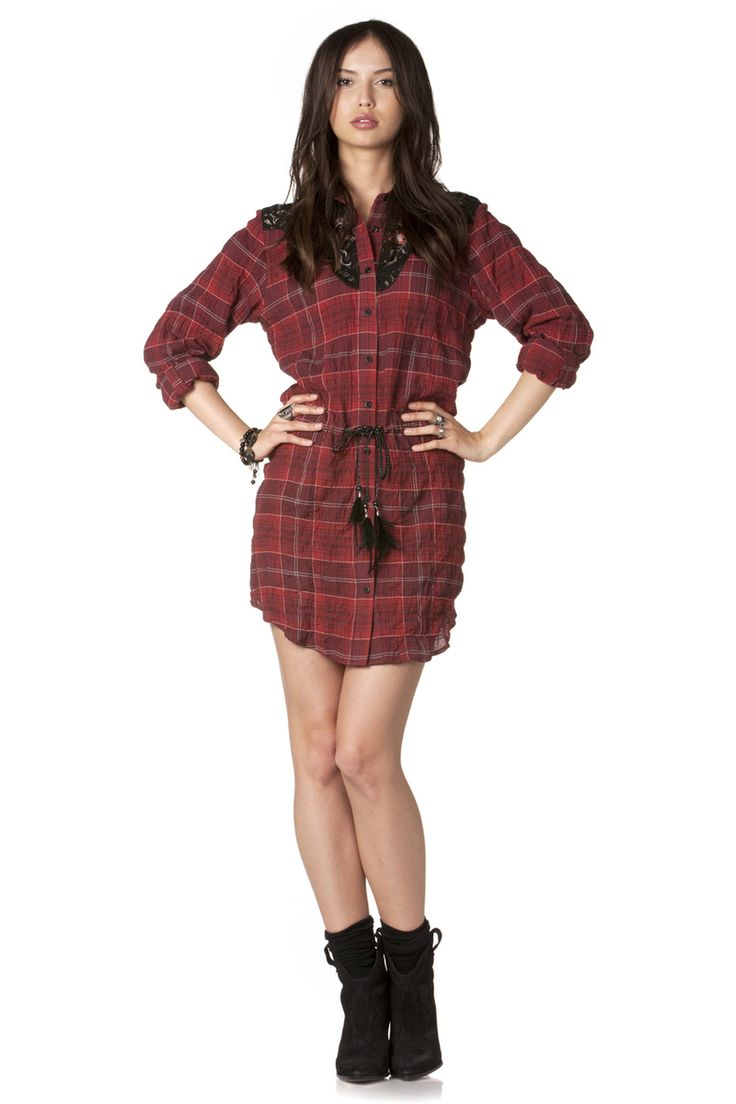 Plaid Shirt Red Dress - MissMe.com | Falling for Autumn | Pinterest