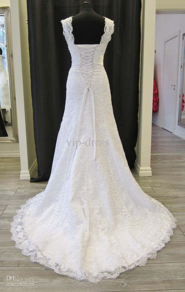 Beauty real sample sheath straps lace wedding dress bridal gown
