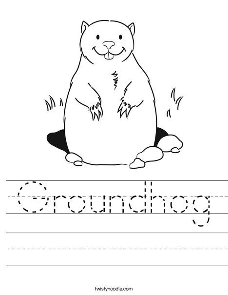 Groundhog Worksheet - Twisty Noodle | Animals worksheets | Pinterest