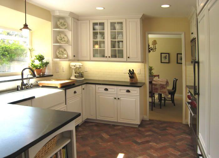 White Cabinets Herringbone Brick Floor Kitchen Pinterest