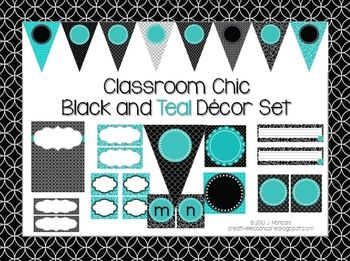 Classroom Decor Set~ EDITABLE~Black and Teal~ Desk Plates, Banner, Wo…