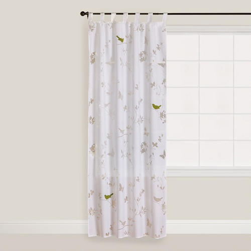... .com: White Bird and Botanical Burnout Curtain Panel...at the window
