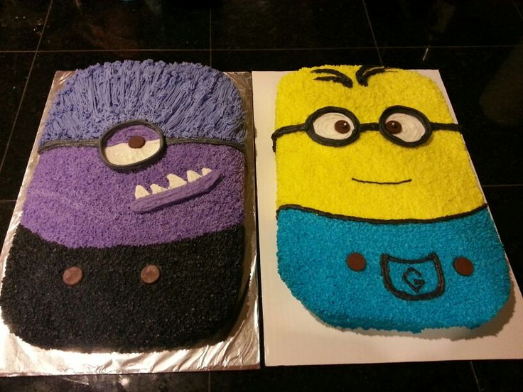 Minion cake, the purple is chocolate cake and the yellow ...