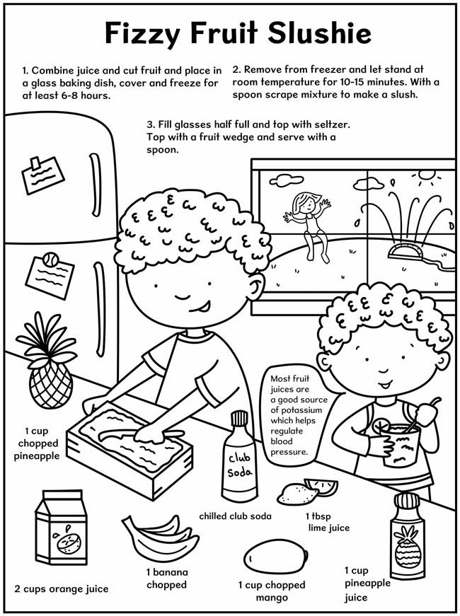 healthy snacks coloring pages - photo#14