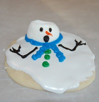 Melted Snowman Cookies....I want my sister to make this