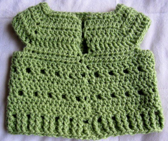 Easy Crochet Baby Vest Pattern : Easy Cute Crochet Baby (6-9 MOS) V-Neck Pullover Vest ...