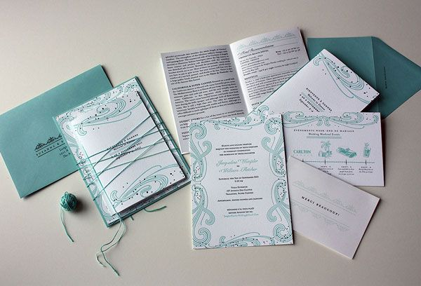 Art Nouveau by the Sea Wedding Invitations