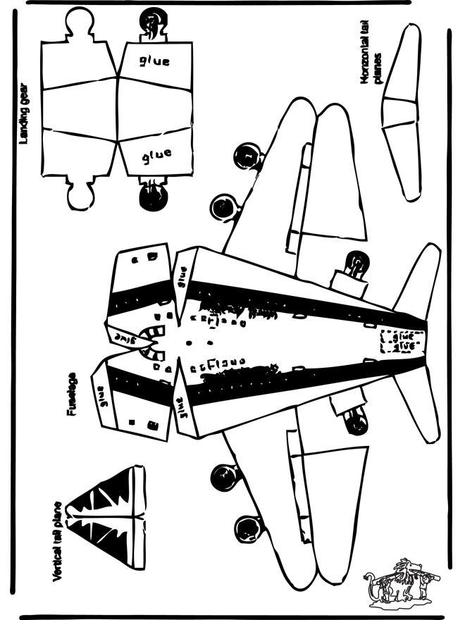 paper plane colouring pages
