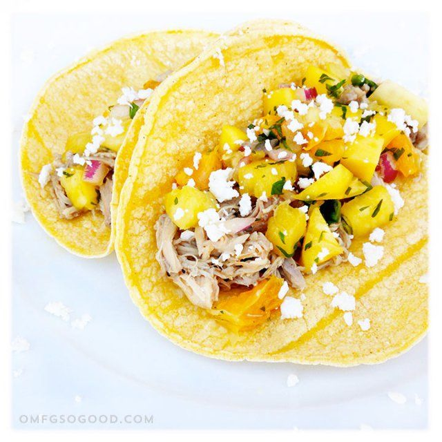 Margarita Braised Chicken Tacos with Pineapple Mango Salsa