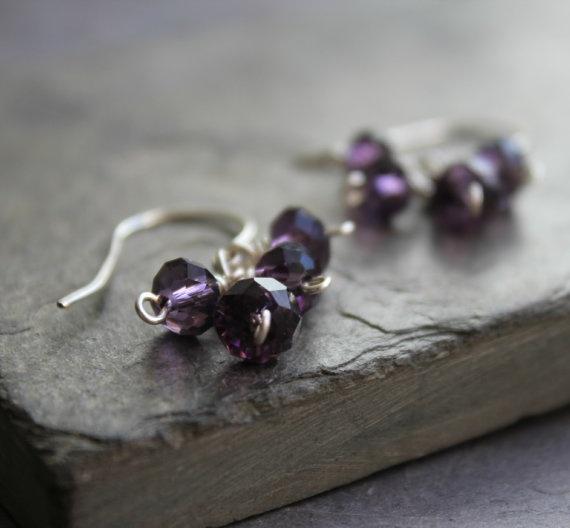 Purple grape cluster earrings small cluster by redpoppycompany, $14.00