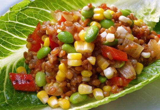 Wheat berry salad with grilled veggies | Hot Weather Meals | Pinterest