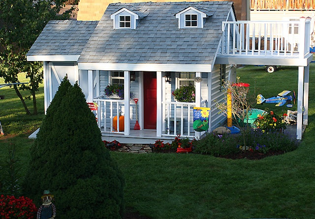 Cute Playhouse With Garage Home Exteriors Pinterest