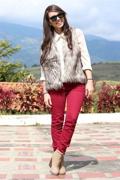 fur vest, red jeans