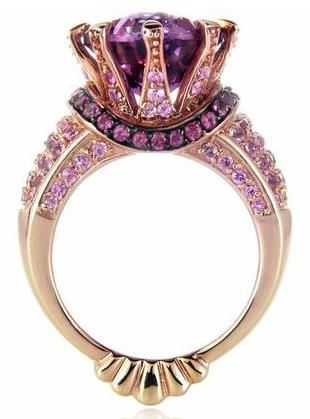 Purple Rose gold, amethyst and black rhodium ring #Purple