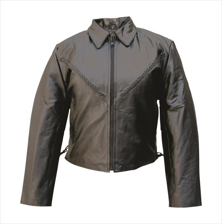 Womens Lambskin Leather Motorcycle Jacket with Braid & Side Laces by