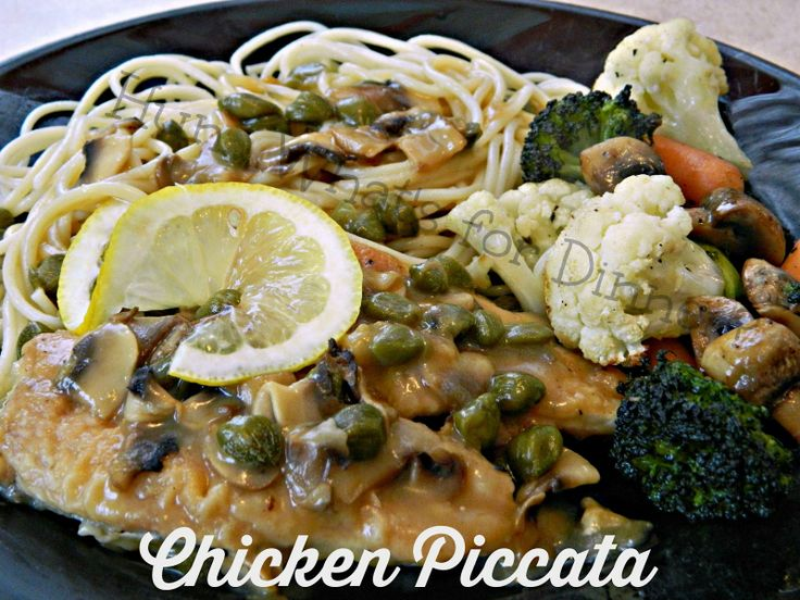 ... chicken cutlets are served with a luxurious lemon caper mushroom sauce