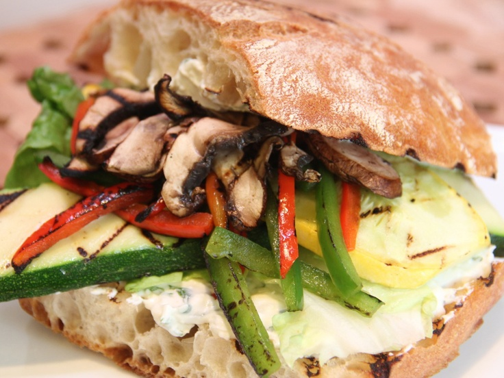 Grilled Vegetable Panini with Herbed Feta Spread from CookingChannelTV ...