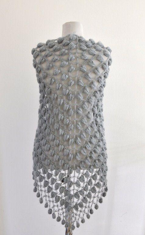Crochet Shawl : hand-crochet mohair shawl
