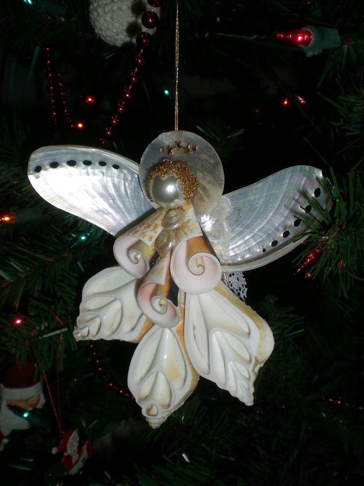 Seashell angel crafts seashell angel seashells pinterest for Seashell ornament ideas