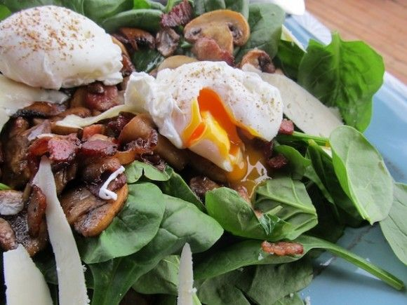 SCD Warm Spinach Salad w/ Bacon, Mushrooms & a Poached Egg (*Use SCD ...