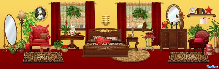 Red And Gold Bedroom Pet City Mansion Pinterest