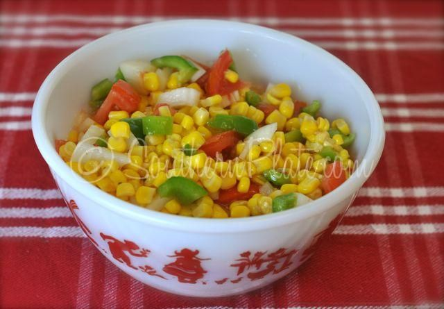 Summer Corn Salad. Delicious and simple. Canned corn, onion, tomato ...