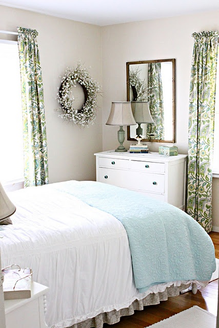 simple greens and blues are restful in the bedroom