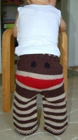 Super cute sock monkey knit pants from Crankypants on etsy.