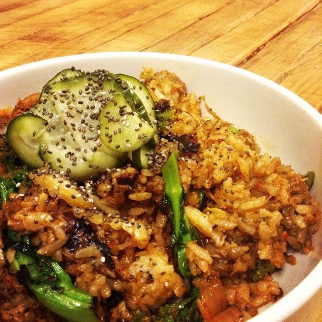 ... , Mushroom, & Kimchi Fried Rice w/ Chia Seeds and Pickled Cucumber