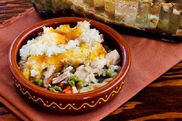Turkey Shepherd's Pie Casserole with Garlic-Parmesan Cauliflower Topping from Kalyn's Kitchen (Thanks to Yummly for including my Shepherd's Pie in a great round-up of leftover turkey ideas!)