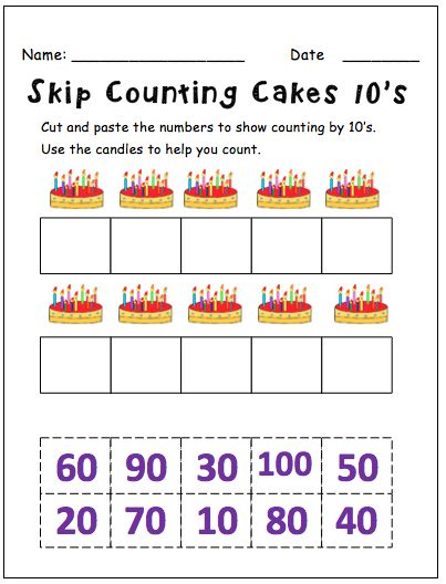 Skip counting by 10s worksheet for kindergarten