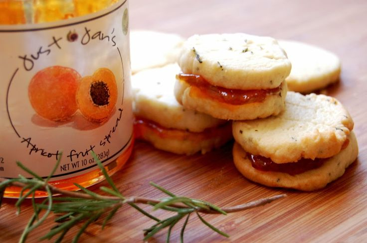 Rosemary shortbread cookies with @Jan Hogrewe Apricot Spread. http ...