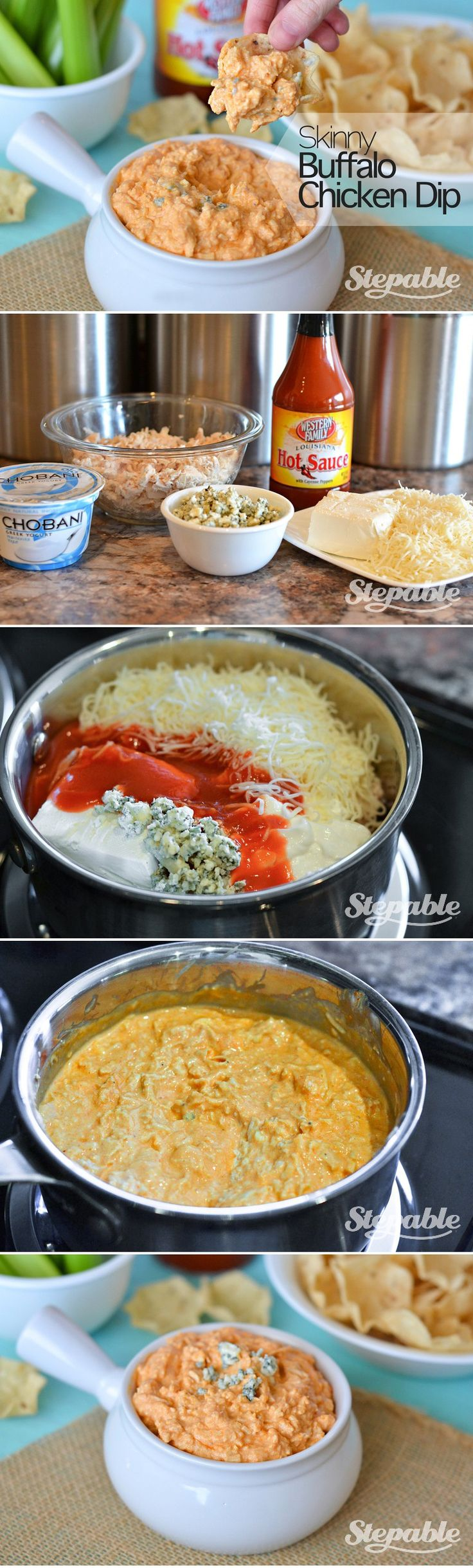 Easy peasy Skinny Buffalo Chicken Dip....made this forever ago...it's ...