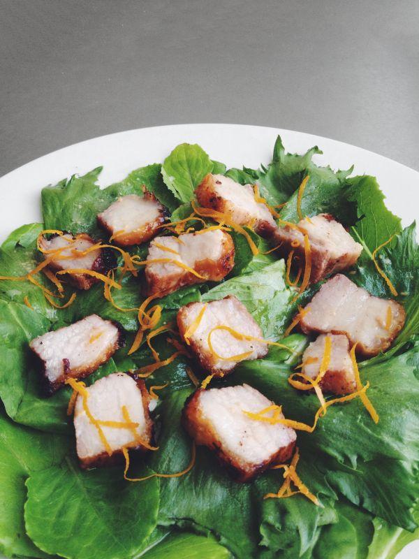 Lemon Honey Crispy Pork Belly (Siu Yuk) Salad | Studio Snacks