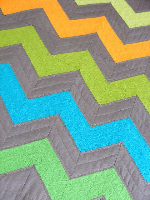 Modern Chevron Quilt Kona Solids Gray Blue by CarlaGAccessories, $150 ...