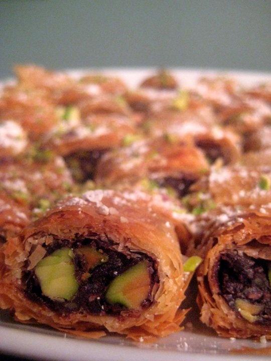 Chocolate-Pistachio Phyllo Rolls Recipe — Dishmaps